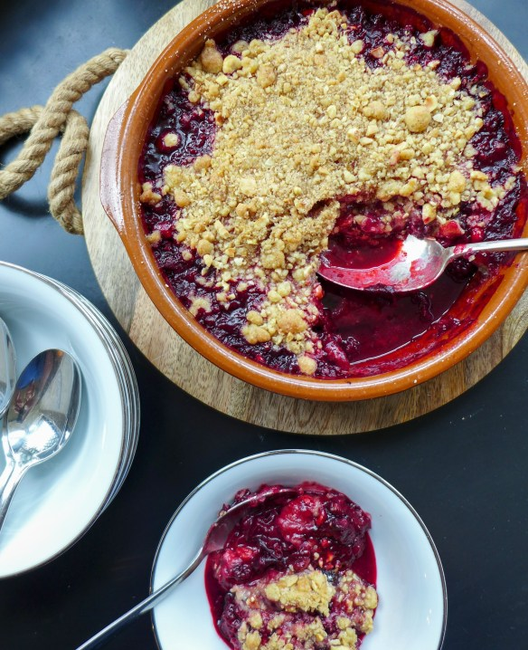 Image of spiced plum and blackberry crumble