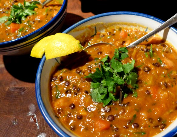 Image of Moroccan-spiced vegetable soup, served