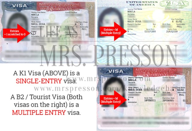K1 Visa as a Single-Entry visa and B2 Tourist Visa as Multiple-Entry Visas | What is the difference between a K1 Visa expiry and I-94 expiration date? | © 2015 - onwards, CBP.gov, US Travel.State.Gov, MrsPresson.com Knowledgebase