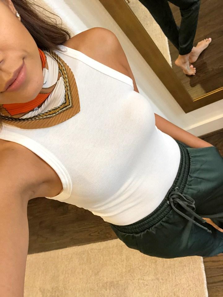 Casual Dressy Vibes: White Tank & Satin Jogger Pants