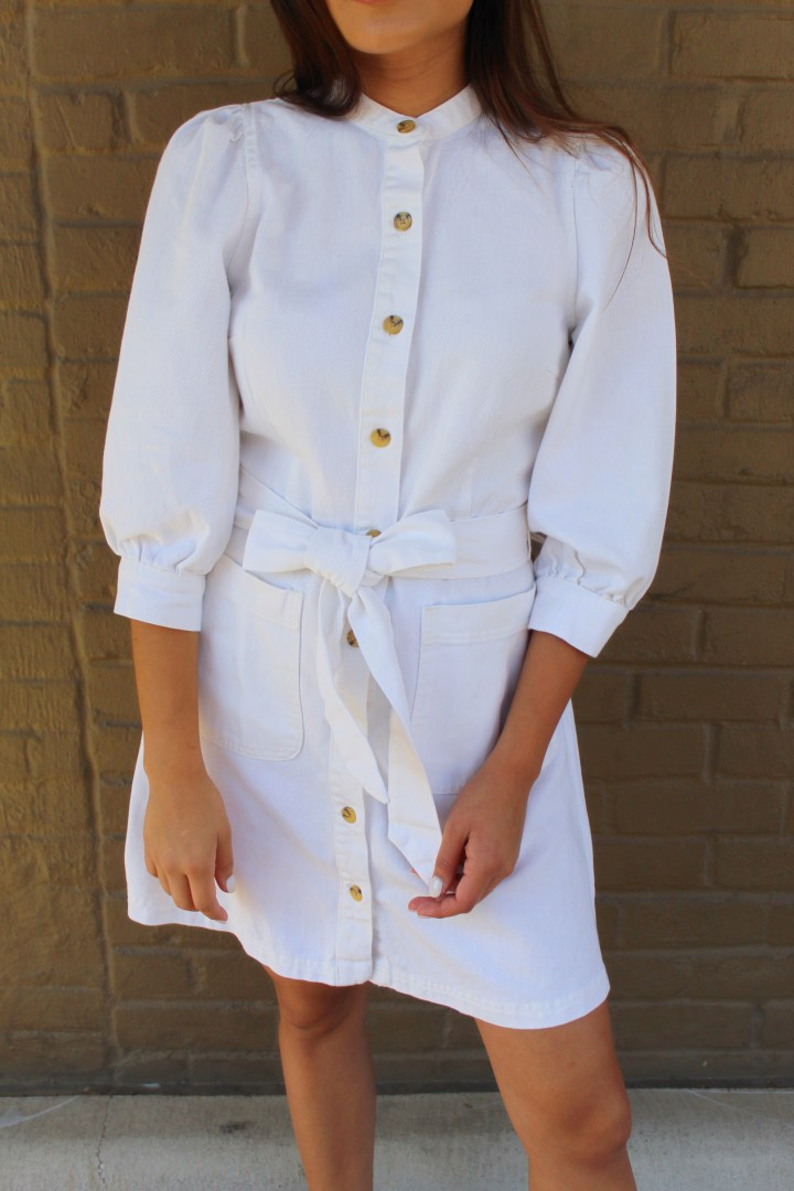 White Button Down Denim Dress