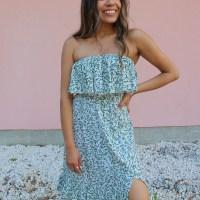 Strapless Maxi Dress: Green Floral Print