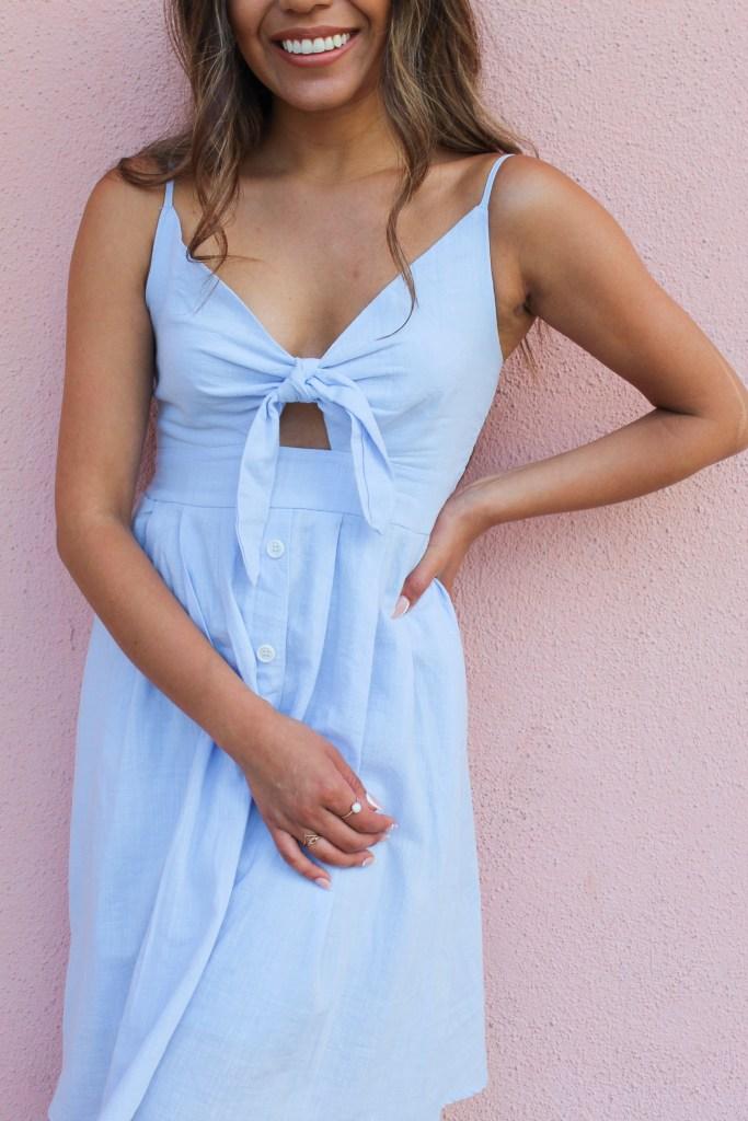Tie Front V-Neck Dress