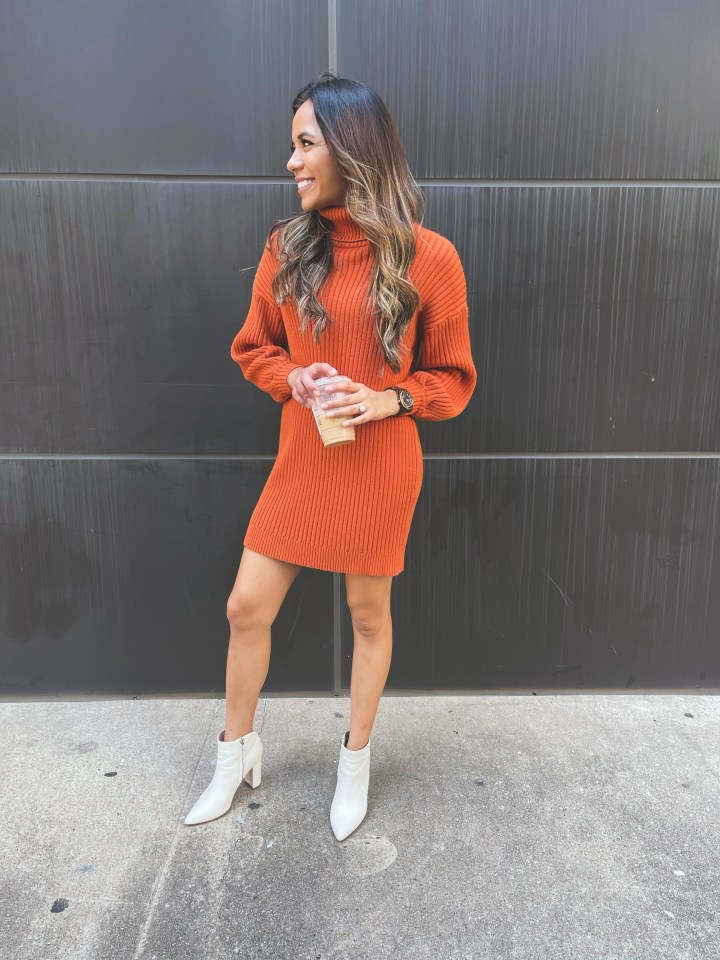 Cute Fall Outfit: Sweater Dress with Boots