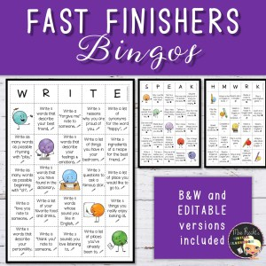 Editable Fast Finishers Bingos