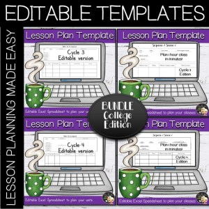Lesson Plans Editable Templates Bundle – Collège Edition