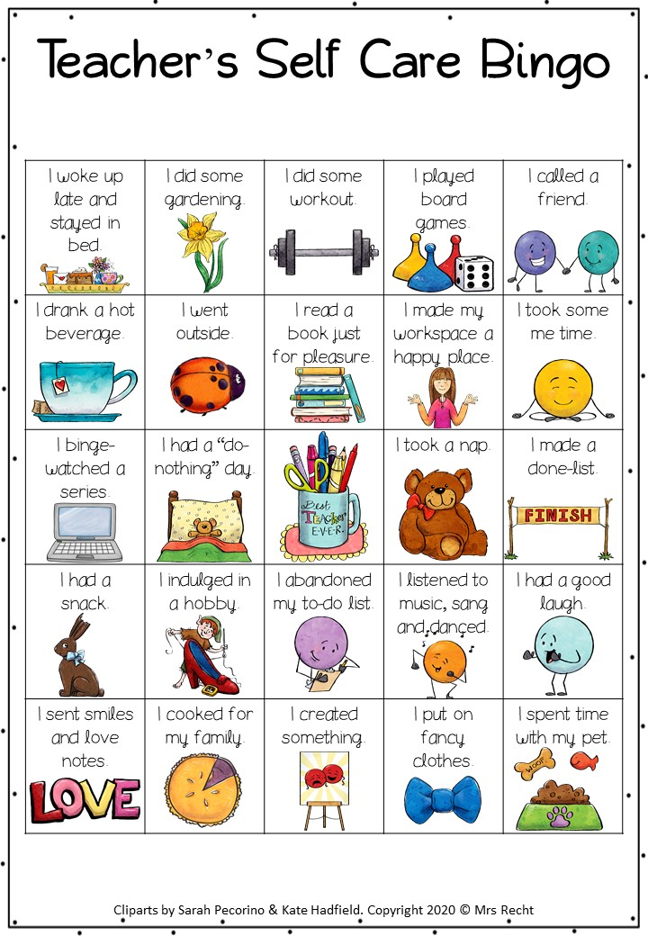 Teacher Self Care Bingo