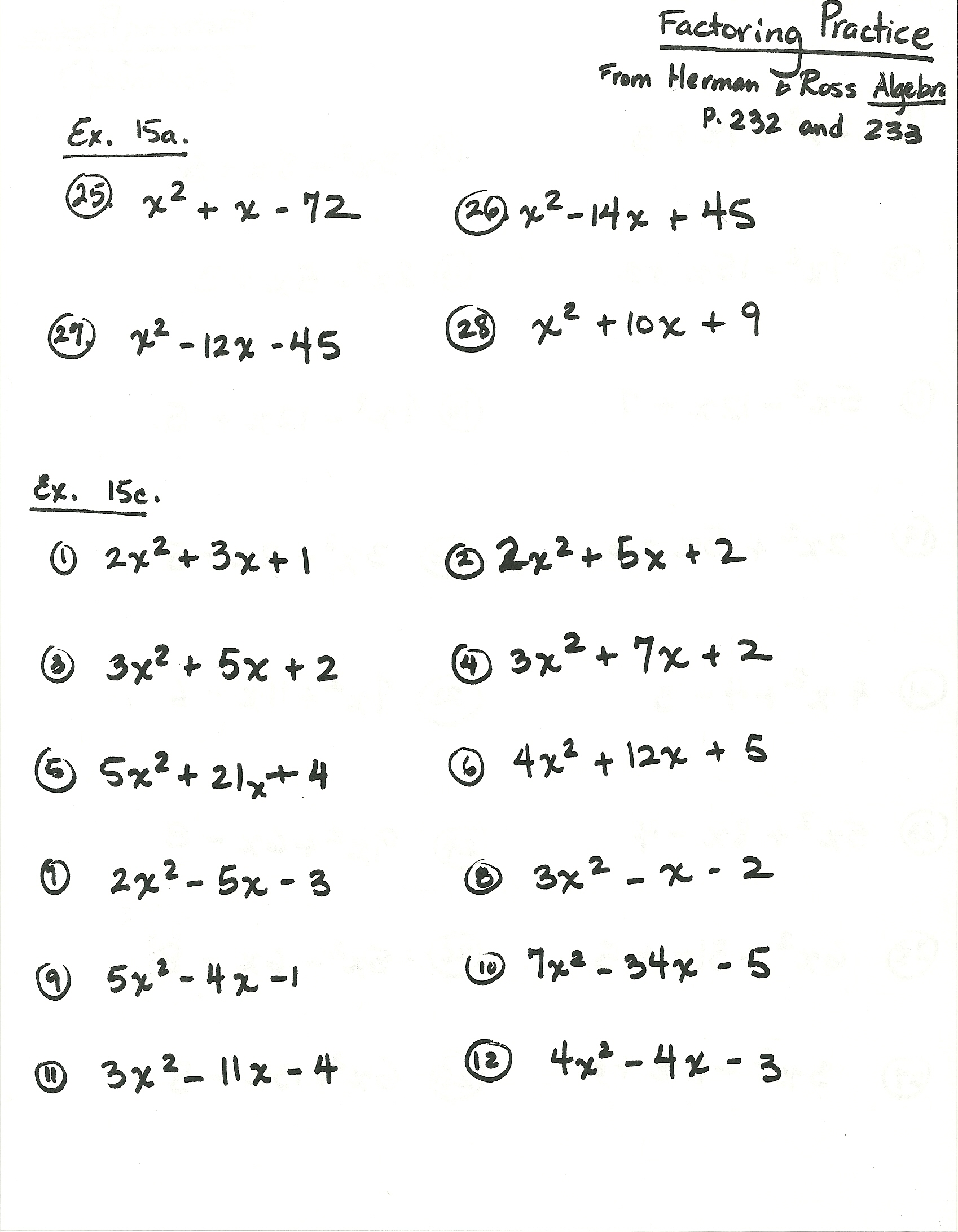 Algebra Homework Sheets