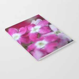 Pink White Verbena Flowers Notebook