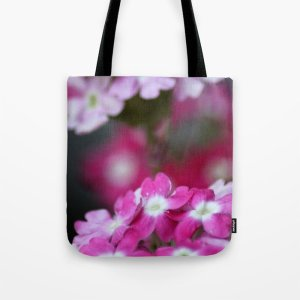 Pink White Verbena Flowers Tote Bag