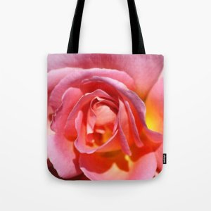 Pink Yellow Rose Flower Tote Bag