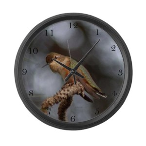 Hummingbird Hanging Out Large Wall Clock