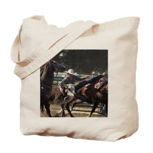 Bulldogging Steer Wrestling Rodeo Action Tote Bag