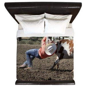 Bulldogging Steer Wrestling Rodeo King Duvet Cover