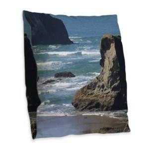 Pacific Ocean Beach Scene Burlap Throw Pillow