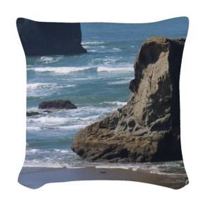 Pacific Ocean Beach Scene Woven Throw Pillow
