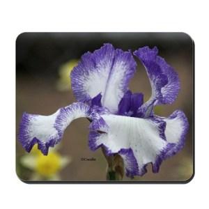 Blue White Bearded Iris Flower Mousepad