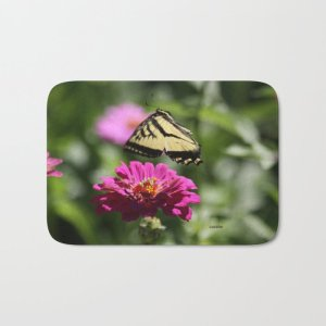Colorful Swallowtail Butterfly Flying Bath Mat