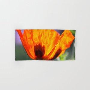 Orange Poppy Flower Hand & Bath Towel