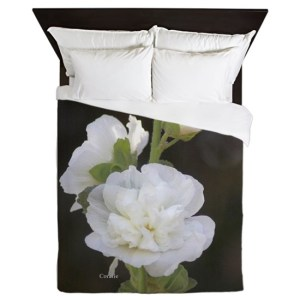 White Hollyhock Flowers Queen Duvet Cover