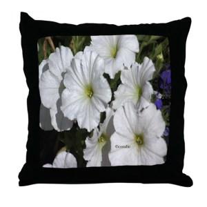 White Petunia Flowers Throw Pillow
