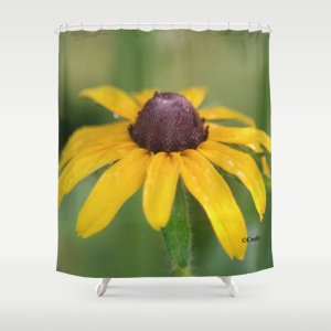 Yellow Daisy Flower Shower Curtain