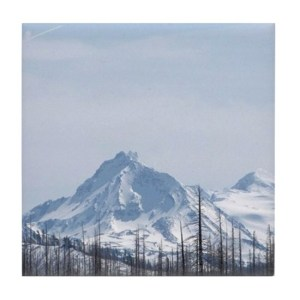 Cascade Mountain Range Oregon Tile Coaster