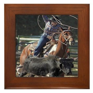 Rodeo Roping Framed Tile