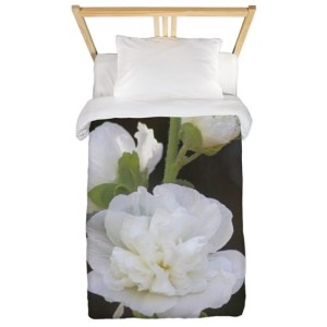White Hollyhock Flowers Twin Duvet