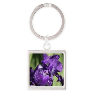 Purple White Bearded Iris Flower Keychains
