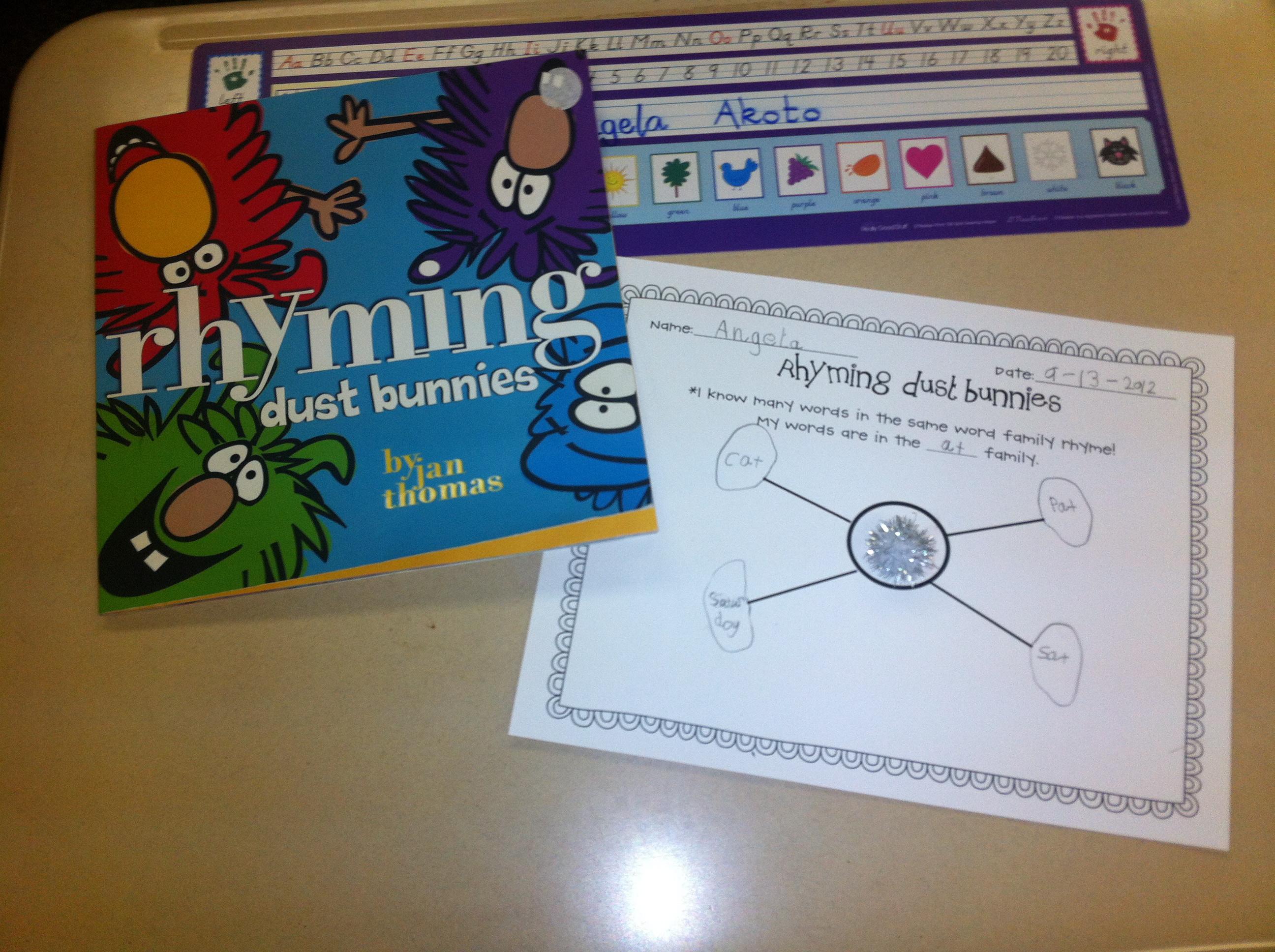 Rhyming Dust Bunnies Worksheet