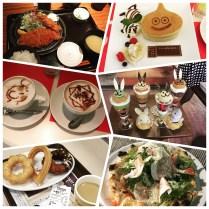 Katsu, pancake, ice cream bunnies, espresso, soy donuts, and pizza