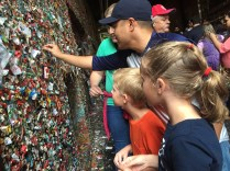 The famous gum wall was also a stop on the hunt