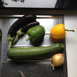 courgette, paprika en aubergine