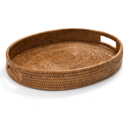 Rattan Oval Tray with Handles