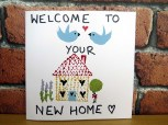 Hand-painted New Home greetings card