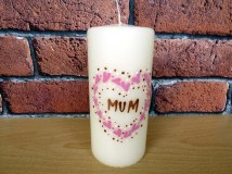 Hand-painted and personalised pillar candles