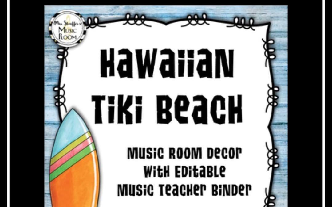 Hawaiian Tiki Beach Music Room Decor