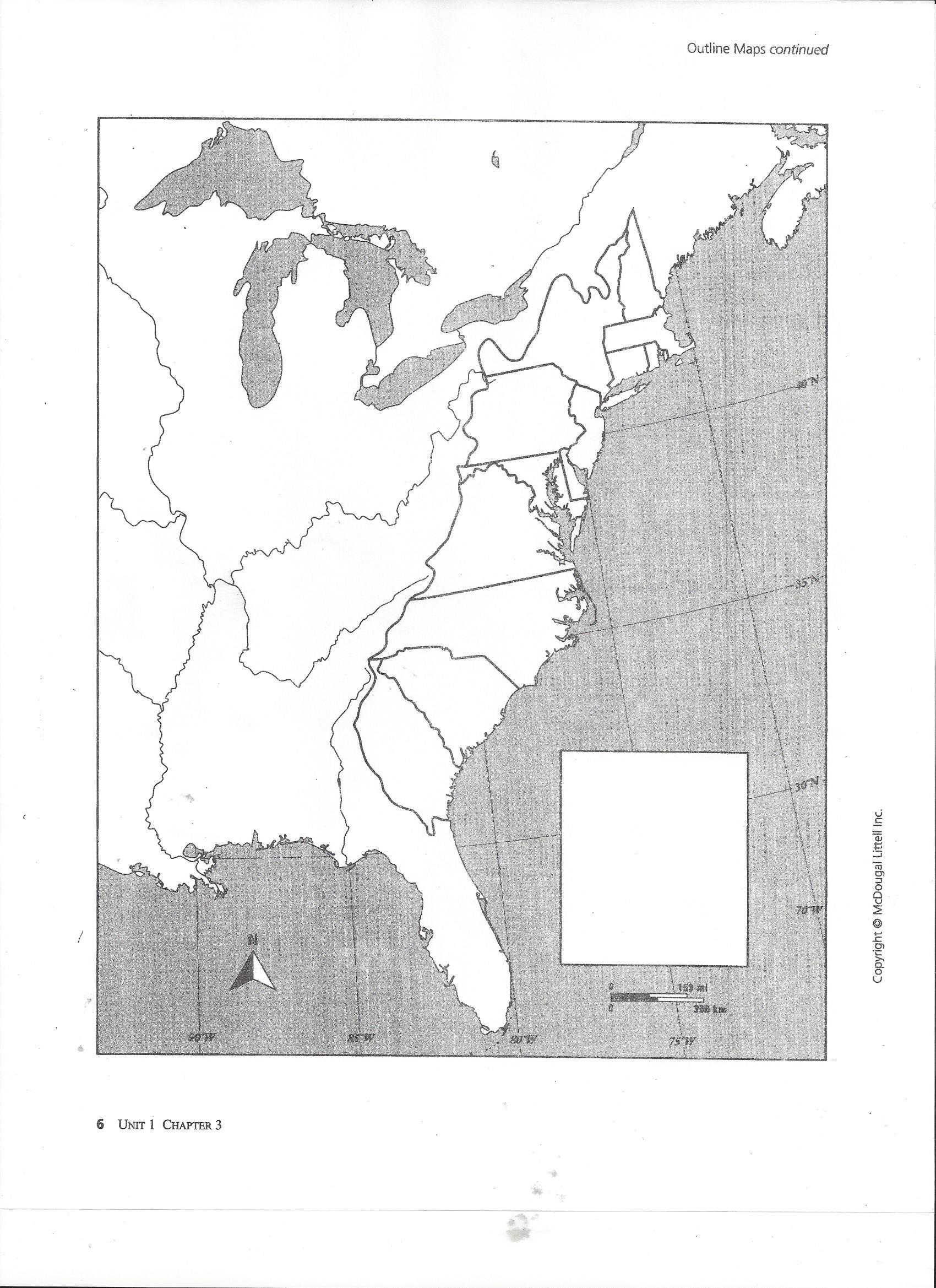 13 Colonies Map Blank