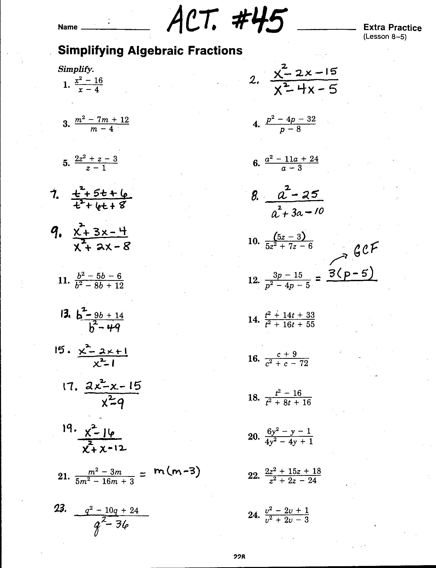 Solve Equations With Rational Coefficients Worksheet Answers