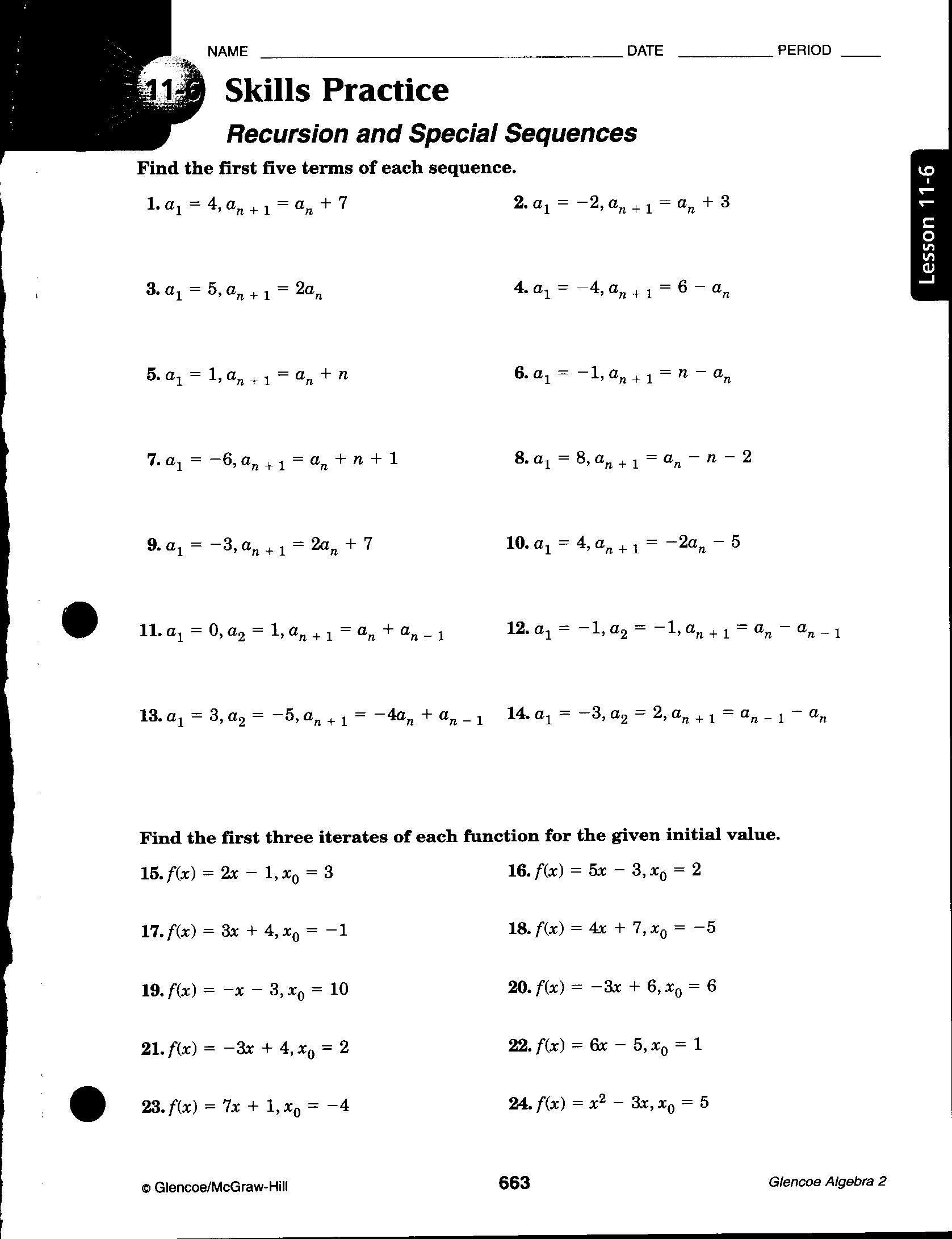 Arithmetic Sequence Worksheet 1 Answer Key