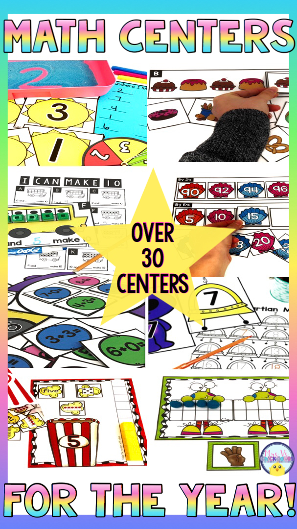 Hands on kindergarten math centers for the entire year. Engaging activities to teach number sense, number identification, ten frames, counting on, addition, subtraction and more!