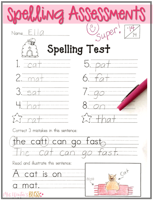 1st grade spelling word activities and assessments