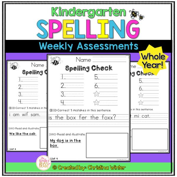 Kindergarten spelling word assessment test