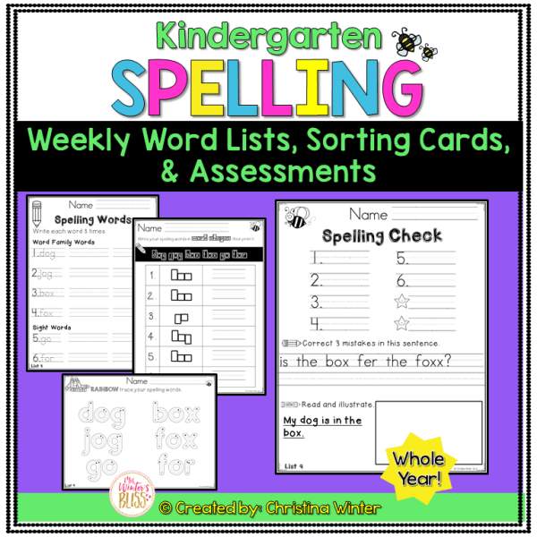 Kindergarten spelling word list activities and spelling test