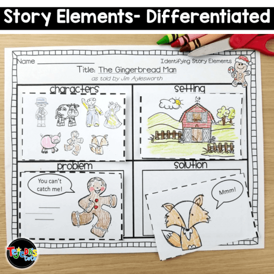 free gingerbread man story elements activity