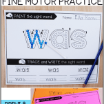 free sight word activities with fine motor skills
