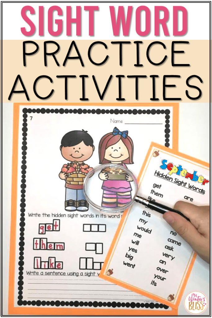 sight word practice activities