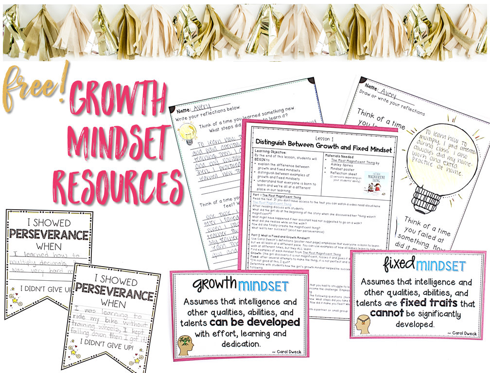 free growth mindset activities