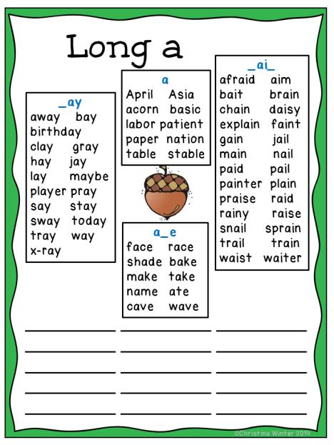 long vowel word list